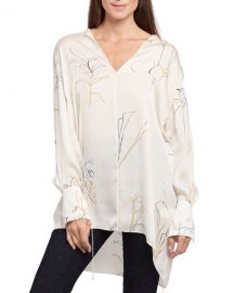 Theory Nature Long-Sleeve Fluid Charmeuse Tunic at Neiman Marcus