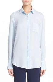 Theory Nijee Silk Shirt in Classic Blue at Nordstrom