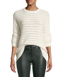Theory Novelty-Stripe Cashmere Pullover Sweater at Neiman Marcus