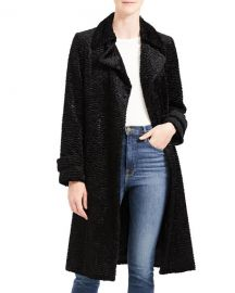 Theory Oaklane Faux Astrakhan Belted Trench Coat at Neiman Marcus