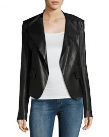 Theory Peplum Jacket Leather Jacket  Black   Neiman Marcus at Neiman Marcus