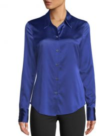 Theory Perfect Fitted 2 Stretch-Satin Long-Sleeve Button-Down Blouse at Neiman Marcus