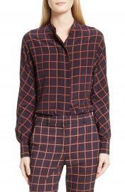 Theory Plaid Dolman Sleeve Silk Blouse at Nordstrom