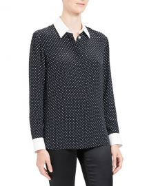 Theory Polka Dot Combo Stretch Crepe Shirt at Neiman Marcus