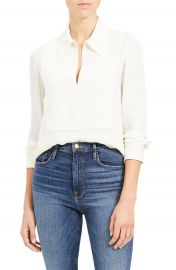 Theory Popover Classic Silk Blouse   Nordstrom at Nordstrom