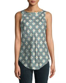 Theory Printed Silk Sleeveless Racerback Top at Neiman Marcus