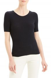 Theory Regal Moving Ribbed Short Sleeve Wool Sweater   Nordstrom at Nordstrom