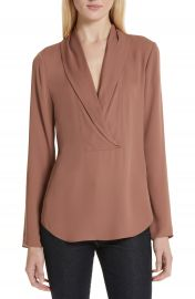 Theory Shawl Collar Silk Blouse   Nordstrom at Nordstrom