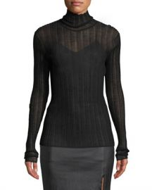 Theory Sheer Fitted Wool Turtleneck Sweater at Neiman Marcus