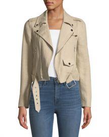 Theory Shrunken Integrate Linen Moto Jacket at Neiman Marcus