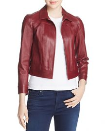 Theory Shrunken Leather Jacket In Deep Mulberry at Bloomingdales