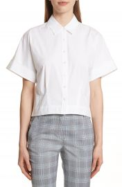 Theory Stretch Cotton Crop Button Down Shirt at Nordstrom