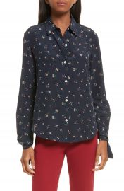 Theory Tie Cuff Floral Print Silk Shirt at Nordstrom
