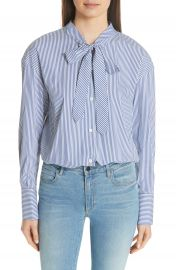 Theory Tie Neck Stripe Cotton Blend Top at Nordstrom