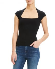 Theory Wool-Blend Square Neck Tee at Neiman Marcus