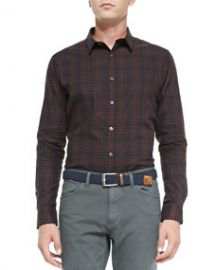 Theory Zack PS Rhone Plaid Shirt Red at Neiman Marcus