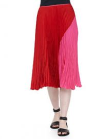 Theory Zeyn Colorblock Pleated Skirt at Neiman Marcus