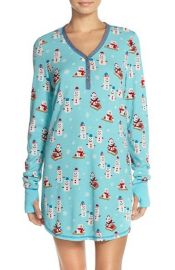 Thermal Knit Sleep Shirt in Aqua Snowmen at Nordstrom Rack
