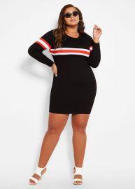 Thick Stripe Sweater Dress by Ashley Stewart at Ashley Stewart