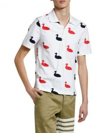 Thom Browne Men  x27 s Duck-Print Polo Shirt at Neiman Marcus