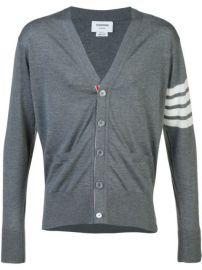 Thom Browne V-Neck Cardigan With 4-Bar Stripe In Medium Grey Merino - Farfetch at Farfetch