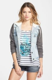Thread and Supply Hooded Denim Jacket with Fleece Sleeves at Nordstrom