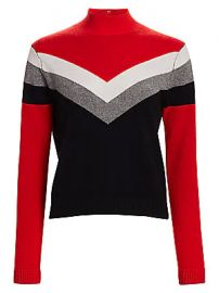 Threads of Prvlg - Cashmere Chevron Funnel Neck Sweater at Saks Fifth Avenue