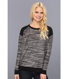 Three Dots Contrast Boxy Sweatshirt Black at 6pm