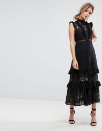 Three Floor Tiered Lace Midi Dress at asos com at Asos