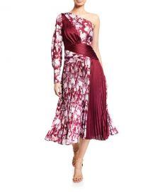 Three Floor Xilitla Printed One-Shoulder Pleated Midi Dress at Neiman Marcus
