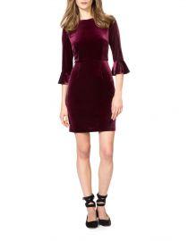 Three-Quarter Bell Sleeve Velvet Sheath Dress at Lord & Taylor