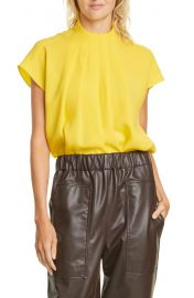 Tibi Esme Pleated Crepe Top at Nordstrom