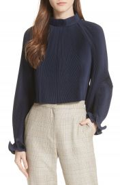 Tibi Pleated Crop Top in Navy x at Nordstrom