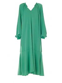 Tibi - Savanna Crepe Ruffle-Neck Midi Dress at Saks Fifth Avenue