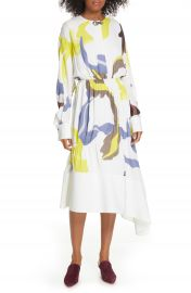 Tibi Ant Farm Print Long Sleeve Midi Dress   Nordstrom at Nordstrom