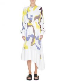 Tibi Ant Farm Printed Panel Crepe Dress at Neiman Marcus
