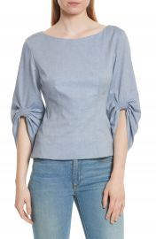 Tibi Corset Ruched Sleeve Top at Nordstrom