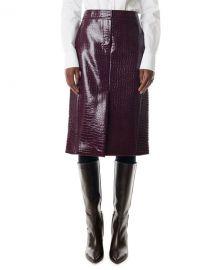 Tibi Croc-Embossed Patent Trouser Skirt at Neiman Marcus
