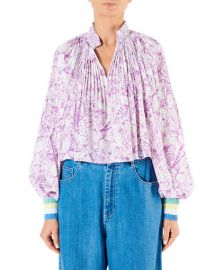 Tibi Edwardian Floral Pleated Cropped Blouse at Neiman Marcus