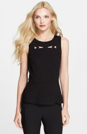 Tibi Embroidered Cutout Ponte Peplum Top at Nordstrom
