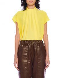 Tibi Esme Crepe Shirred High-Neck Top at Neiman Marcus