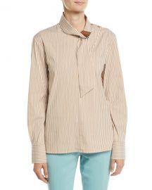 Tibi Kaia Striped Tie-Collar Long-Sleeve Shirt at Neiman Marcus