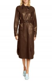Tibi Long Sleeve Faux Leather Shirtdress   Nordstrom at Nordstrom