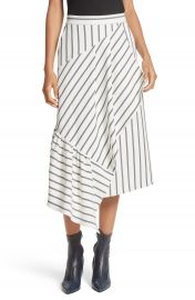 Tibi Lucci Stripe Midi Skirt at Nordstrom