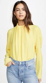 Tibi Shirred High Neck Top at Shopbop
