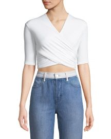 Tie-Back Wrapped Crop Top T by Alexander Wang at Neiman Marcus