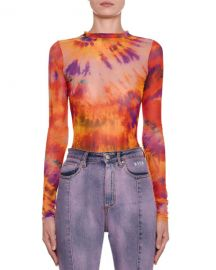 Tie-Dye Long-Sleeve Fitted Top at Neiman Marcus