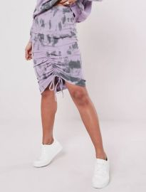 Tie Dye Ruched Side Midi Skirt  at Missguided