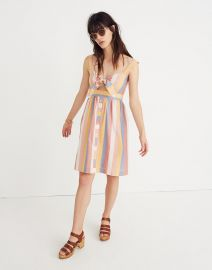 Tie-Front Cutout Dress in Sherbet Stripe at Madewell