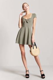 Tie-Front Cutout Mini Dress at Forever 21